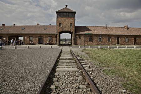 auschwitz: Main entrance to Auschwitz - Birkenau Editorial