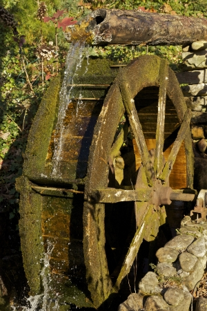 Old Water Wheel with flowing water