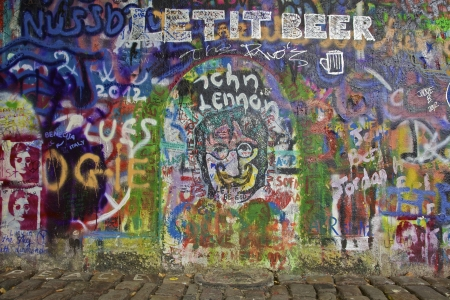 The Lennon Wall in Prague with graffiti