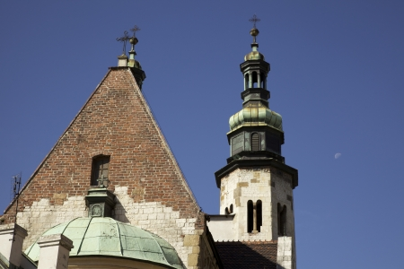 Tops of the churches in Krakow Poland Stock Photo
