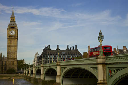Big Ben and Westminster Bridge on a Sunny Day  Classic Red Double Decker Bus  Editorial