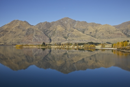 Mountain reflection of the southern alps in New Zealand Stock Photo