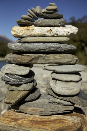 Hoodoo Stacked Rocks At Blue Pools along the Haast Pass in New Zealand Stock Photo