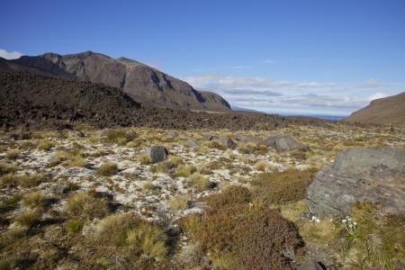 Volcanic landscape along the Tongariro Crossing North Island of New Zealand