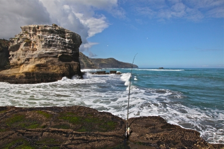 Unmanned fishing line at Muriwai Beach in New Zealand