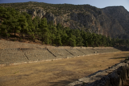The Stadium at Delphi where events were held  Among the beautiful mountains