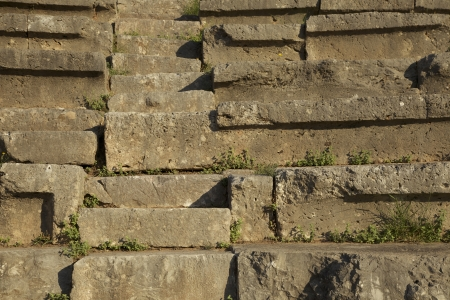 Steps of the ancient amphitheater at Delphi in Greece