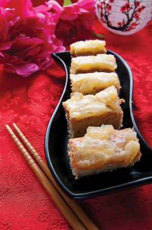titbits: Traditional Chinese delicacies served on a plate Stock Photo