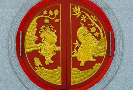 chinese temple window in Thailand,Kammalawat Dragon temple window Stock Photo - 8144460