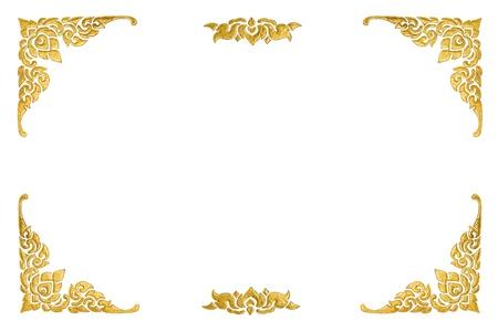 ornate gold frame: pintura tailandesa aislado sobre fondo blanco