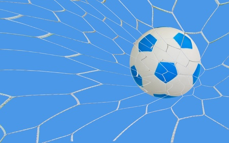 kick soccer goal under the blue sky Stock Photo