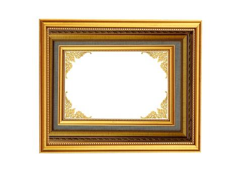 ancient style golden wood photo image frame isolated  photo