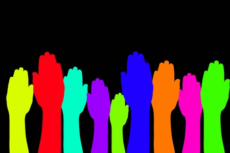colorful of  raised hands  sign  Stock Photo