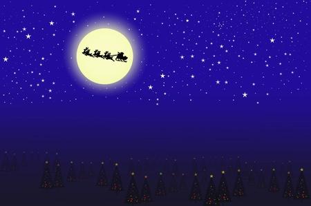 santa on the moon background photo