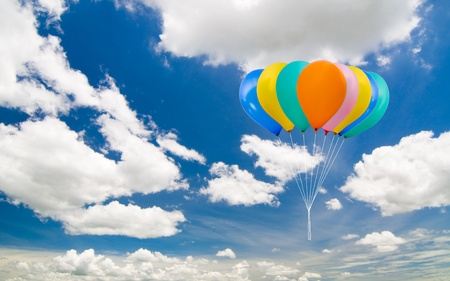 colorful balloon on the blue sky background Stock Photo - 8597251