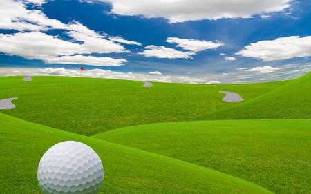 golf course under the blue sky  photo