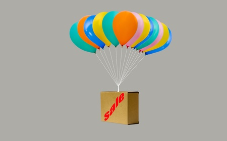 house clearance: sale sign on the box and colorful balloon Stock Photo