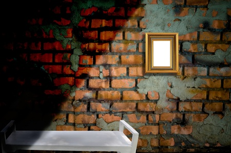 picture frame on the old brick wall and the shadow photo
