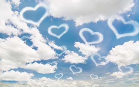 white heart on the blue sky and cloudy Stock Photo - 9038256