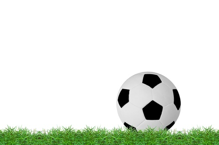 isolated football on green grass photo