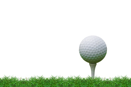 isolated golf ball on the tee  Stock Photo