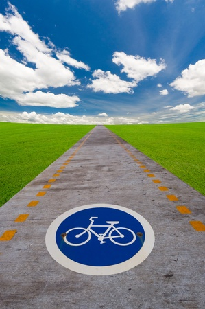 way of bicycle under the blue sky photo