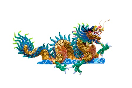 chinese temple: isolated Chinese dragon on white background Stock Photo