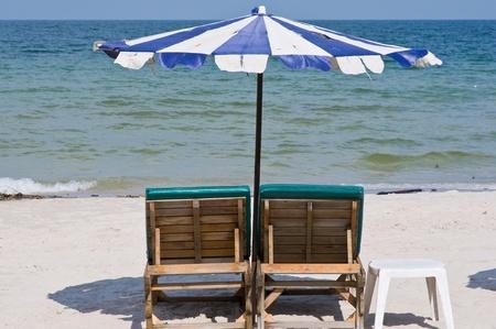 beach chairs on Hua Hin beach,Thailand photo