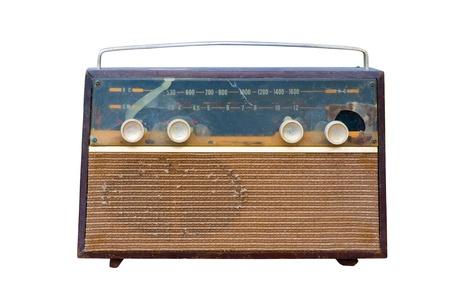 isolated Vintage fashioned radio on white background photo