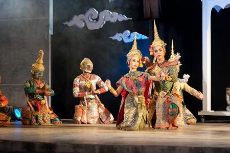 Hua Hin, THAILAND - DECEMBER 4 : Khon-Thai culture drama dance show at Cicada Market Hua Hin on December 4, 2011 in Hua Hin, Thailand.