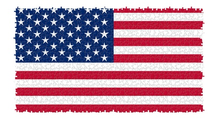 The USA nation flag in jigsaw puzzle style isolated on white background photo