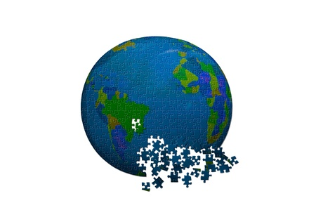 the Earth in puzzle style photo