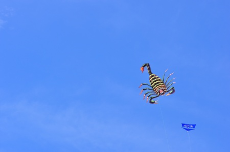 CHA-AM - MARCH 9: Colorful of kites in the 12th Thailand International Kite Festival on March 9, 2012 in Naresuan Camp, Cha-am, Thailand.  Stock Photo - 12572853