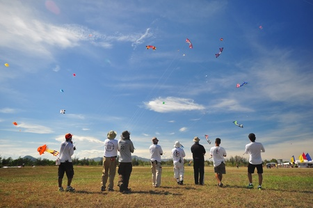 CHA-AM - MARCH 9: Participants in the 12th Thailand International Kite Festival on March 9, 2012 in Naresuan Camp, Cha-am, Thailand.  Editorial
