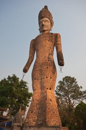 god figure: Ancient Buddha in Sala Kaew Ku, - Thai temple in hindu style, Nhongkhai Province Thailand