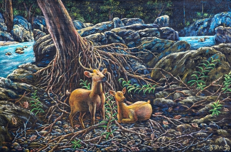 Oil painting on canval - Deer in the forest photo