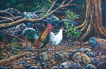 Oil painting on canvas - jungle fowl in the forest