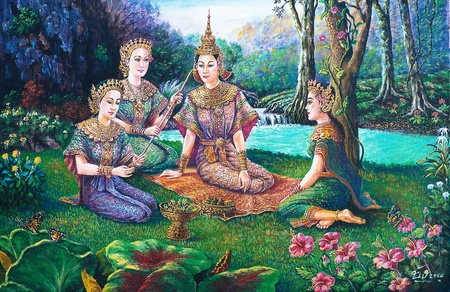 thailand art: Oil painting on canvas - Thai drama dance