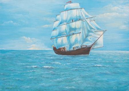 캔버스에 유화 - 바다에 배를 항해 스톡 콘텐츠 - 12836778