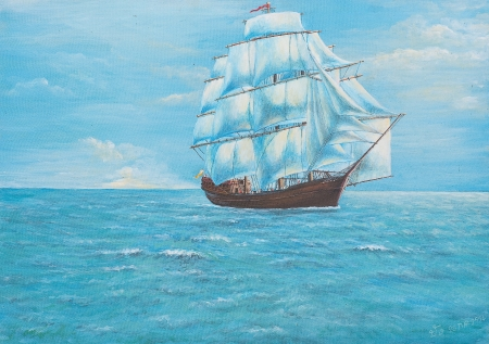 Oil painting on canvas - sailing ship in the ocean photo