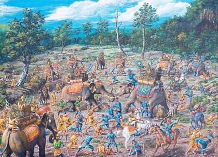 Oil painting on canvas - ancient battle in asia between Thai army and Burma army Stock Photo