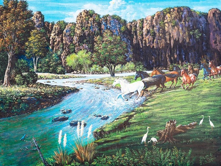 Oil painting on canvas - horses in the forest Stock Photo - 12836775