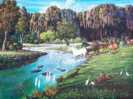 Olieverf op doek - paarden in het bos Stockfoto