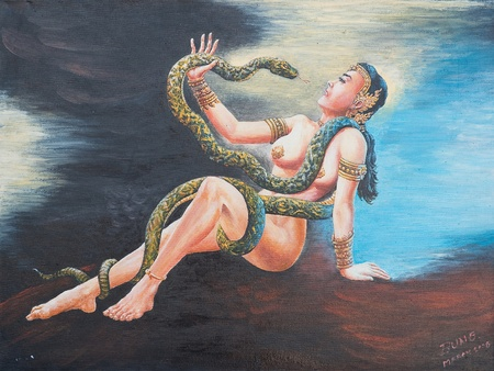 Oil painting on canvas - woman with snake Stock Photo - 12836798