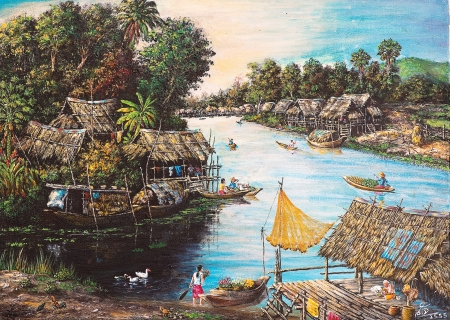 Oil painting on canvas - picture of waterside life Stock Photo
