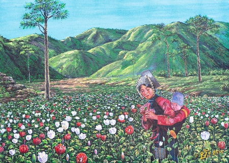 Oil painting on canvas - hill tribe woman with her son in the opium farm Stock Photo