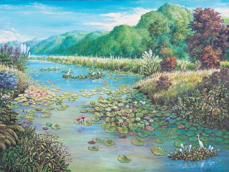 Oil painting on canvas - landscape of lotus swamp