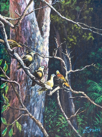 Oil painting on canvas - birds on the branch photo