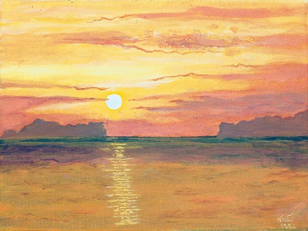 Oil painting on canvas - sunset in the ocean Stock Photo