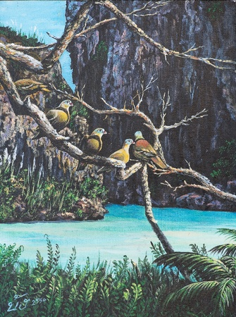 Oil painting on canvas - birds on the branch Stock Photo - 12836805